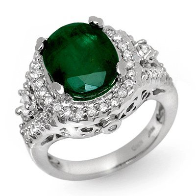 Genuine 6.15 ctw Emerald & Diamond Ring 14K White Gold
