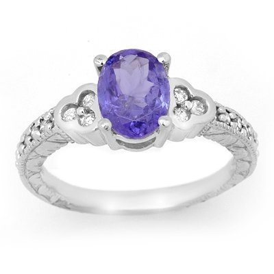 Genuine 2.42ct Tanzanite & Diamond Ring 14K White Gold