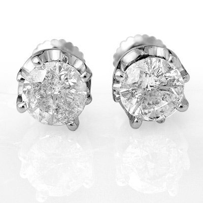 Natural 2.0 ctw Diamond Stud Earrings 14K White Gold