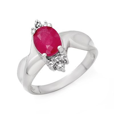 Genuine 1.83 ctw Ruby & Diamond Ring 10K White Gold