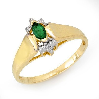 Genuine 0.22 ctw Emerald & Diamond Ring 10K Yellow Gold