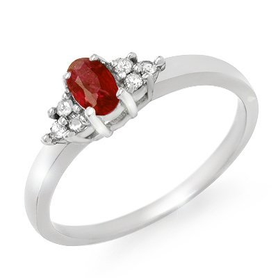 Genuine 0.52 ctw Ruby & Diamond Ring 10K White Gold