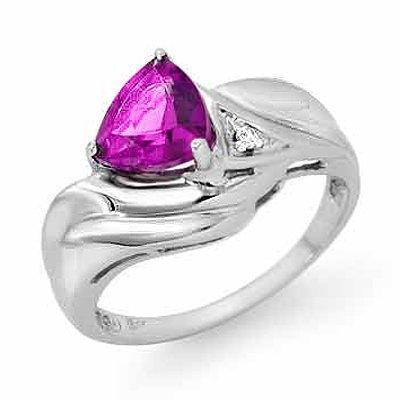 Genuine 0.94 ctw Amethyst & Diamond Ring 10K White Gold