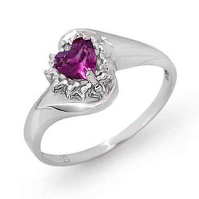 Genuine 0.52 ctw Amethyst & Diamond Ring 10K White Gold