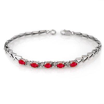 Genuine 2.0 ctw Ruby Bracelet 10K White Gold