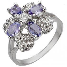 Genuine 0.83ctw Tanzanite & Diamond Ring 10K White Gold