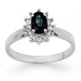 Genuine 0.70 Ctw Sapphire & Diamond Ring 14K White Gold