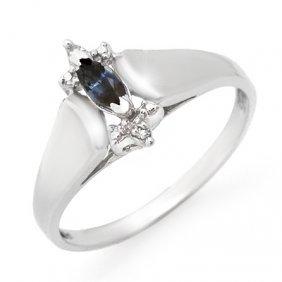 Genuine 0.33 Ctw Sapphire & Diamond Ring 10K White Gold