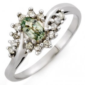 Green Sapphire & Diamond 0.55 Ctw Ring 10K White Gold