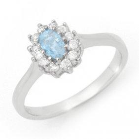 Genuine 0.45 ctw Aquamarine & Diamond Ring 14K Gold