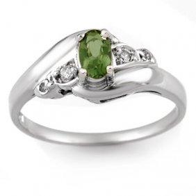 Genuine 0.42ct Green Tourmaline & Diamond Ring 10K Gold