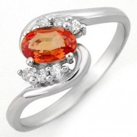 Genuine 0.70 ctw Orange Sapphire & Diamond Ring Gold