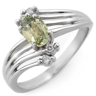 Genuine 0.80ctw Green Sapphire & Diamond Ring 10K Gold