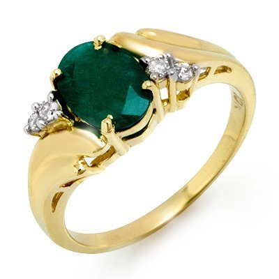 Genuine 1.67 ctw Emerald & Diamond Ring 10K Yellow Gold