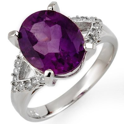 Genuine 4.20 ctw Amethyst & Diamond Ring 10K White Gold