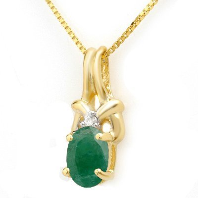 Genuine 1.02 ctw Emerald & Diamond Pendant Yellow Gold
