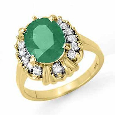 Genuine 3.08 ctw Emerald & Diamond Ring 10K Yellow Gold