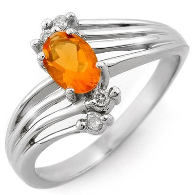 Genuine 0.60ctw Fire Opal & Diamond Ring 10K White Gold