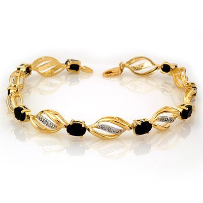 Genuine 6.10 ctw Sapphire & Diamond Bracelet 10K Gold