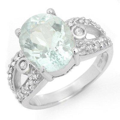 Genuine 4.75 ctw Aquamarine & Diamond Ring 10K Gold