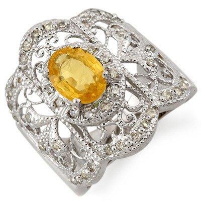 Genuine 2.40 ctw Yellow Sapphire & Diamond Ring Gold