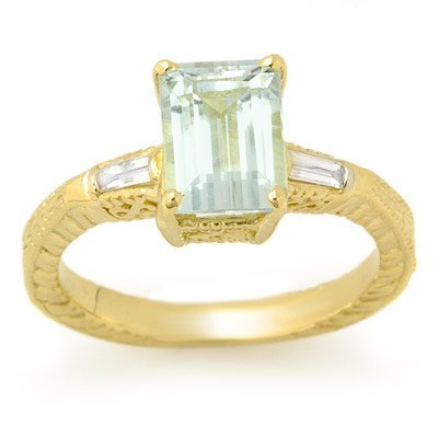 Genuine 2.20 ctw Aquamarine & Diamond Ring 10K Gold