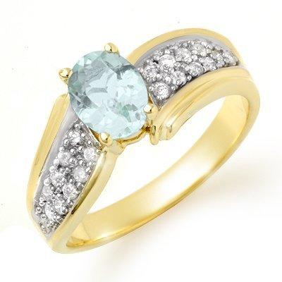 Genuine 1.20 ctw Aquamarine & Diamond Ring Yellow Gold