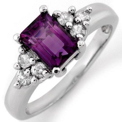 Genuine 1.36ctw Amethyst & Diamond Ring 10K White Gold