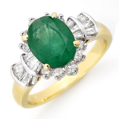 Genuine 2.01 ctw Emerald & Diamond Ring 14K Yellow Gold