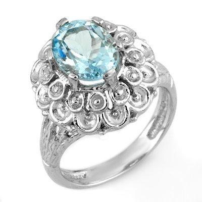 Genuine 2.25 ctw Aquamarine Ring 10K White Gold
