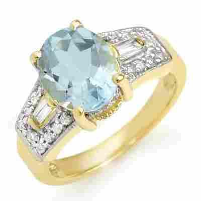 Genuine 3.55 ctw Aquamarine & Diamond Ring 10K Gold