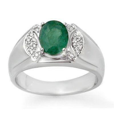 Genuine 2.15 ctw Emerald & Diamond Men's Ring 10K Gold