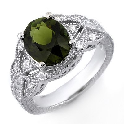 Genuine 3.25 ctw Green Tourmaline & Diamond Ring Gold