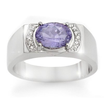 Genuine 2.60ctw Tanzanite & Diamond Men's Ring 10K Gold