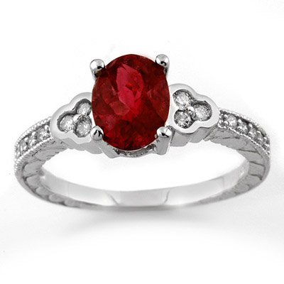 Genuine 2.27ctw Rubellite & Diamond Ring 14K White Gold