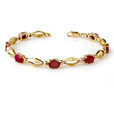 Genuine 6.0 ctw Ruby Bracelet 10K Yellow Gold