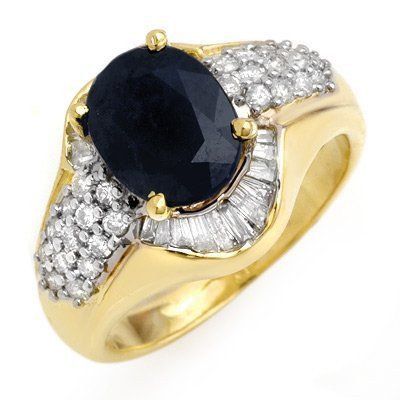 Genuine 3.13 ctw Sapphire & Diamond Ring 14K Yellow Gol