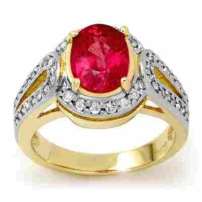 Genuine 3.5 ctw Pink Sapphire & Diamond Ring 10K Yellow