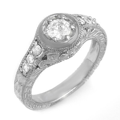 Natural 0.70 ctw Diamond Ring 14K White Gold