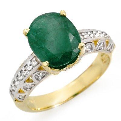 Genuine 3.83 ctw Emerald & Diamond Ring 10K Yellow Gold