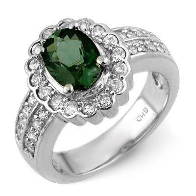 Genuine 2.35 ctw Green Tourmaline & Diamond Ring Gold