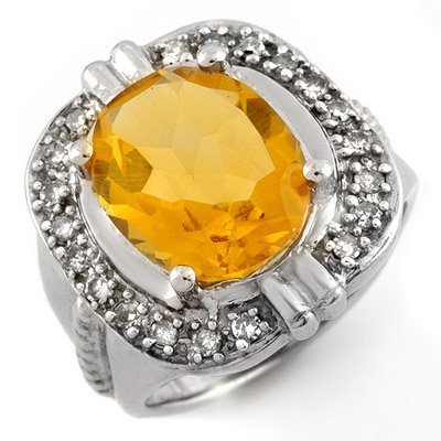 Genuine 4.68 ctw Citrine & Diamond Ring 10K White Gold