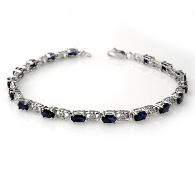 Genuine 6.10 ctw Sapphire & Diamond Bracelet 14K Gold