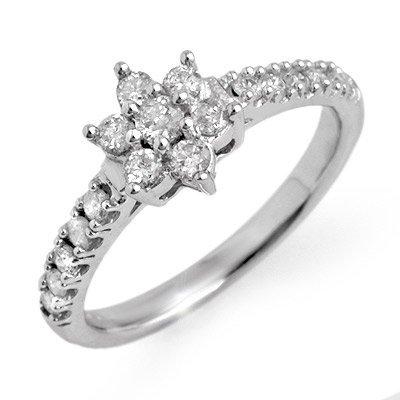 Natural 0.68 ctw Diamond Ring 10K White Gold