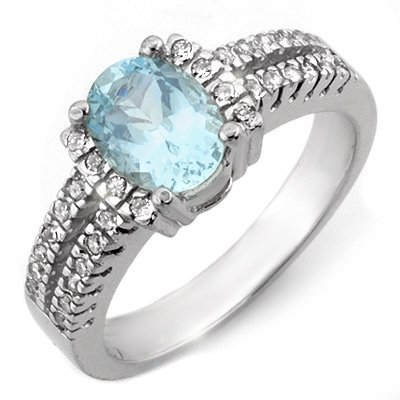 Genuine 1.55 ctw Aquamarine & Diamond Ring 10K Gold