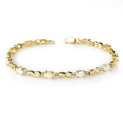 Genuine 1.26 ctw Opal & Diamond Bracelet Yellow Gold