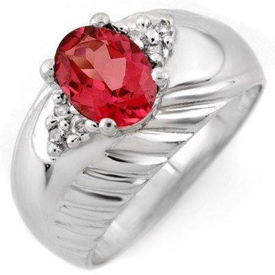 Genuine 1.15ctw Pink Tourmaline & Diamond Ring 10K Gold