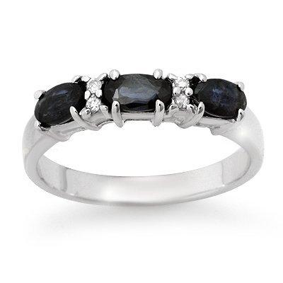 Genuine 1.09 ctw Sapphire & Diamond Ring 10K White Gold