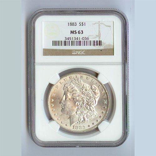 1883 Morgan Silver Dollar MS63 NGC Certified - N1883