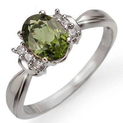 Genuine 1.06 ctw Green Tourmaline & Diamond Ring Gold